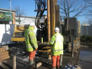 Sonic drilling for mineworks stabilisation