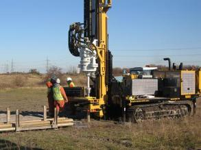 Sonic drilling on deep sand and gravel deposits